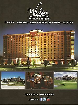 2012 Winstar World Resorts Modern Full Page Color Photo Print Ad
