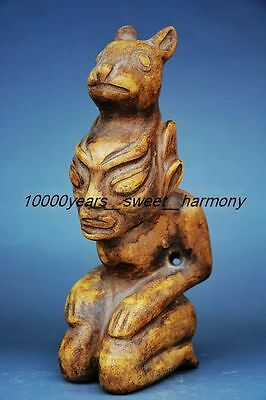 Superior quality Chinese hongshan culture stone hand carved amulet statue
