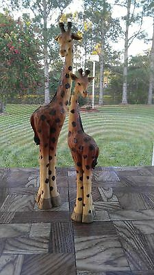 """Giraffe Figurines - large (15-1/2"""" tall)  and small (11-1/2"""" tall) - resin"""
