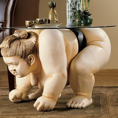 Basho The Heavyweight Japanese Sumo Wrestler Home Sculpture Glass Topped Table