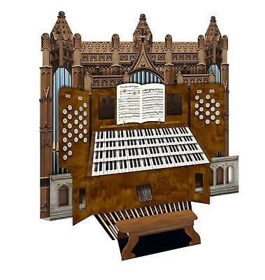 Cathedral organ 3D greeting card wedding, birthday, anniversary, celebration