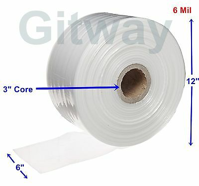 "6"" x 725' Clear Poly Tubing Tube Plastic Bag Polybags Custom Bags on a Roll 6ML"