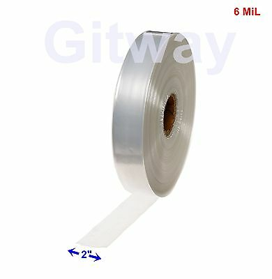 "2"" x 725' Clear Poly Tubing Tube Plastic Bag Polybags Custom Bags on a Roll 6ML"