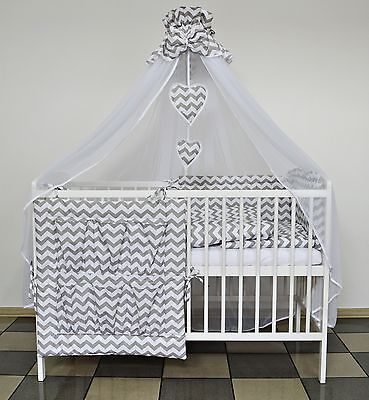 Grey Zig-Zag Baby Bedding Set Cot Cotbed 5 7 9 Pieces Inc Luxury Canopy+ More