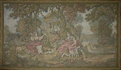 """Large Antique / vintage French Wall Hanging Tapestry 71.5 """" x 41"""" Pastoral scene"""