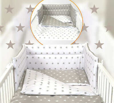 5 Pc White/Grey Stars Baby Bedding Set Cot Cotbed - Luxury Canopy+ Bumer+More