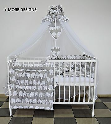 7 Pcs Grey Elephant Baby Bedding Set Cot Cotbed Inc-  Luxury Canopy+ Bumer+More