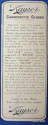 Kayser Chamoisette Gloves Trade Card-Bookmark ANTIQUE ADVERTISING Ephemera
