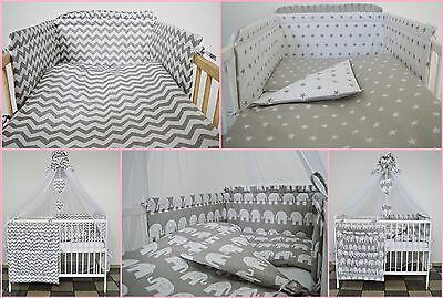 Multi Auction Grey Sets Baby Bedding Set Cot Cotbed - Luxury Canopy+ Bumer+More