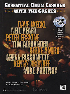 Essential Drum Lessons with the Greats Music Book/2CDs Dave Weckl Neil Peart