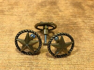 "Antique Brass Star Drawer Pull 1 1/2"" wide (Set of Three) Home Decor 021-52318"