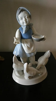 Vintage Gerold Porcelain Lady with Chickens Figurine Bavaria West Germany