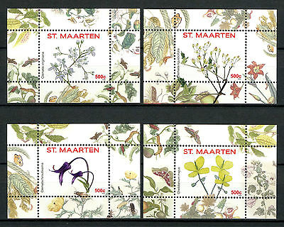 St Maarten 2016 MNH Flowers Series II 4x 1v S/S Nos 1-4 Plants Nature Stamps