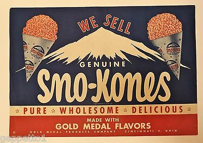 Vintage Ice Cream Snow Cone Advertising Poster Sno-Kone Brand Dixie cup Holders