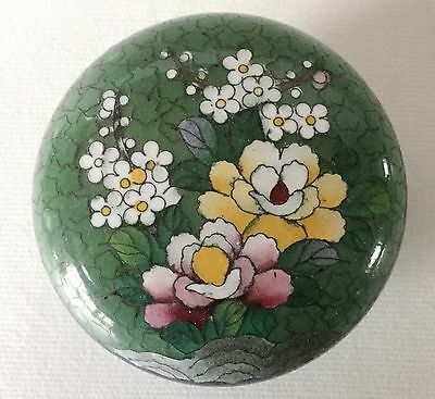"""INABA Japan CLOISONNE Round Floral BOX Kogo 3"""" Clam Shell Vintage"""