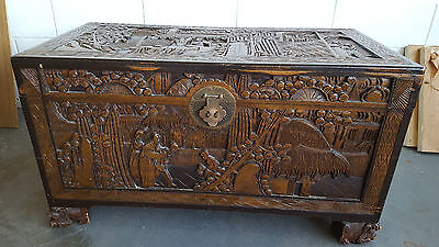 "Old Large Chinese Wooden Carved Picture Storage Box (40"" x 20"")"