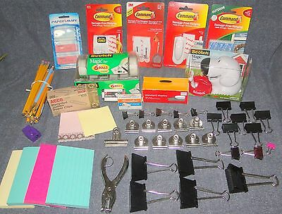 Misc Lot Home Office Supplies Tape Dispenser Command Strips Clips Pencils More!