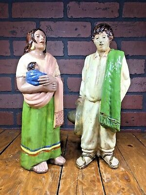 Rare Antique 1920s Mexican Pottery Couple/Baby 13'' Mexico Made Folk Art Figures