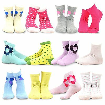 Naartjie Kids Girls Cotton Basic Crew Socks 12 Pair Pack (6-8Y, Polka Dots &...