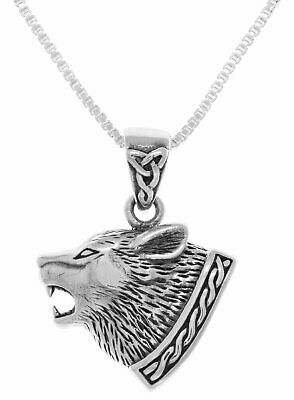 b01f1232683a Jewelry Trends Sterling Silver Celtic Wolf Head Pendant on 18 Inch Box  Chain Nec
