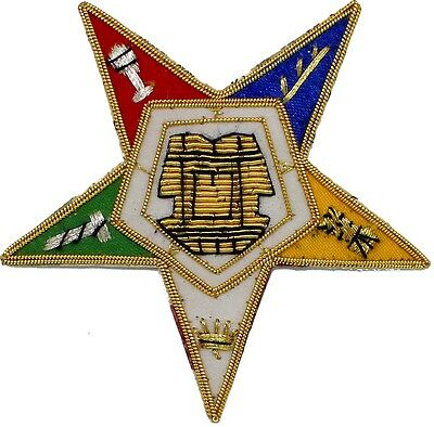 MASONIC ORDER OF EASTERN STAR OES EMBLEM PATCH HAND EMBROIDERED TOP Quality