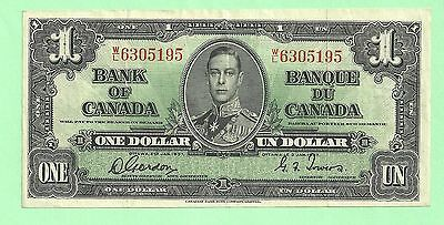 Nice 1937 Bank Of Canada One Dollar Note