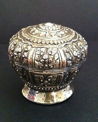 Footed Round Betel Nut Box Laos Southeast Asia Silver 19th Century.