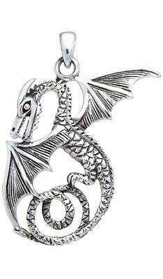 Jewelry Trends Sterling Silver Winged Flying Dragon Pendant