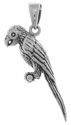New 100/% 0.925 Sterling Silver Parrot Parakeet Bird Charm Pendant Necklace