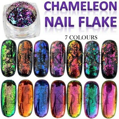 8 Colours Chameleon Nail Flake Glitter Powder Broken Glass Foil Sequins Nail Art