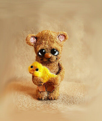 OOAK Micro Miniature Jointed Bear Dindy & Chick  ~ Artist  Bear By Michele Roy