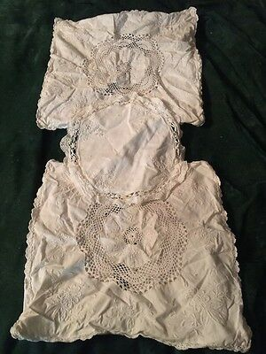 Antique Lot Of 3 Lace Embroidery Crochet White Pillow Cases