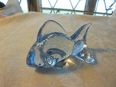 Vintage Hand Cut Blown Crystal Fish Shark Figurine Oneida Light Blue
