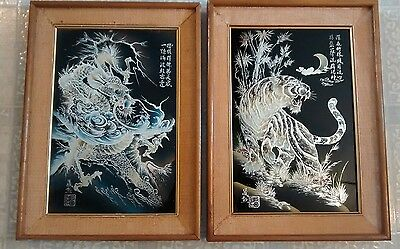 Vintage Chinese Reverse Glass Painting W/Seal