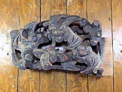 Rare Antique 18th/19th Century Gothic Carved Bat Wood Beam End Corbel Gargoyle
