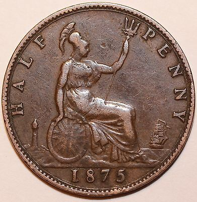 1875 Great Britain Queen Victoria Halfpenny.  Nice Grade.     # HP017