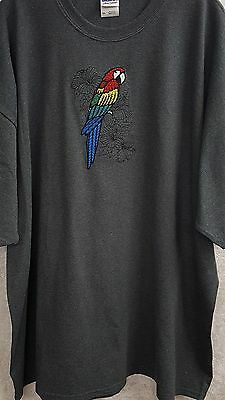 Tropical Parrot, Bird, Macaw Embroidered on a 3XLarge Charcoal T-Shirt