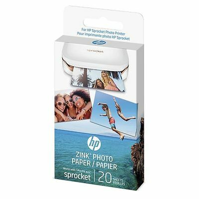 HP ZINK Sticky-backed Photo Paper 5 x 7.6-cm (2 x 3-inch) Pack of 20 Sheets