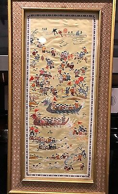 VINTAGE CHINESE SILK EMBROIDERY PANEL on WOOD BOARD