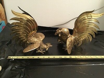 VTG Pair Large Solid Brass Fighting Cocks Roosters Art Deco