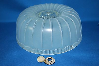 """VINTAGE CEILING MOUNT LIGHT COVER Ribbed Glass Dome Round 8 1/4"""" Diameter"""