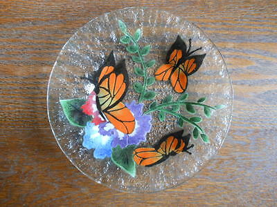 """Fused Art Glass Monarch Butterfly Plate 8 1/2"""" - Not Signed"""