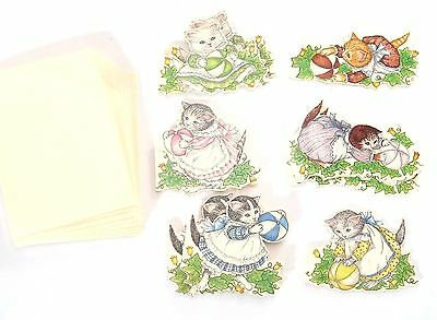 Lot 9 Kitty Cucumber die-cut Gift Tags with Envelopes 1984 Merrimack kitten ball