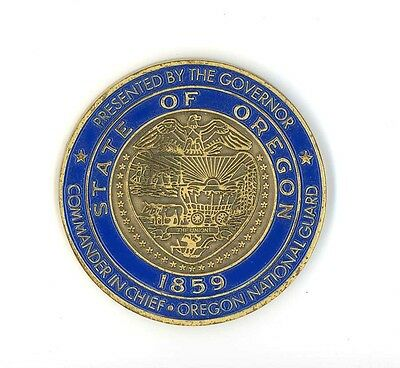 "Oregon state Seal souvenir large enamel coin paperweight ""Citizen soldiers"""