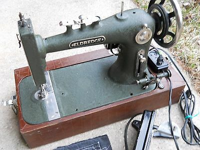 Antique Vintage Eldredge Sewing Machine In Carrying Case SERVICED