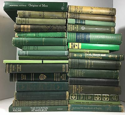 Lot of 10 Green Antique Vintage - Current Books Decorator Set *MIXED LOT*