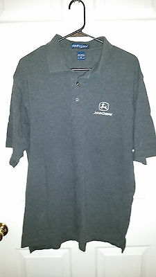 Swingster Polo Shirt Gray John Deere Logo 100% Cotton Size Large