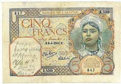 Algeria 5 Fr April 8 1941 with note from WW2 British soldier dated June 18, 1943