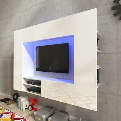 vidaXL Centro de entretenimiento / mueble TV pared luces LED de 169,2 cm blanco