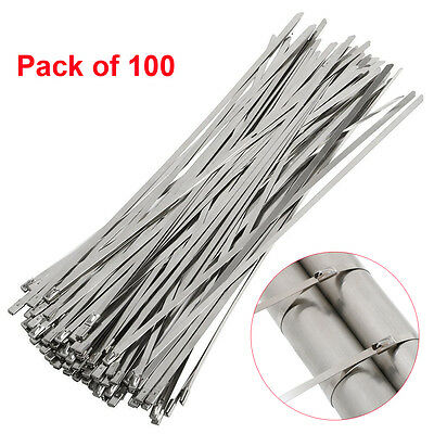 "100pcs 12"" Strong Stainless Steel Grade Metal Self Locking Cable Ties Zip Wraps"
